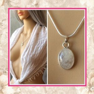 🌸 New 925 natural moonstone pendant necklace